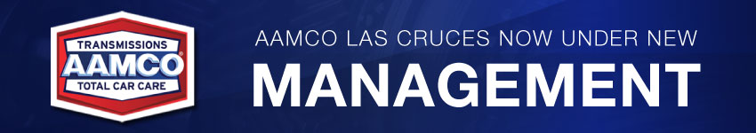 image of New Management Banner with AAMCO Logo and blue background
